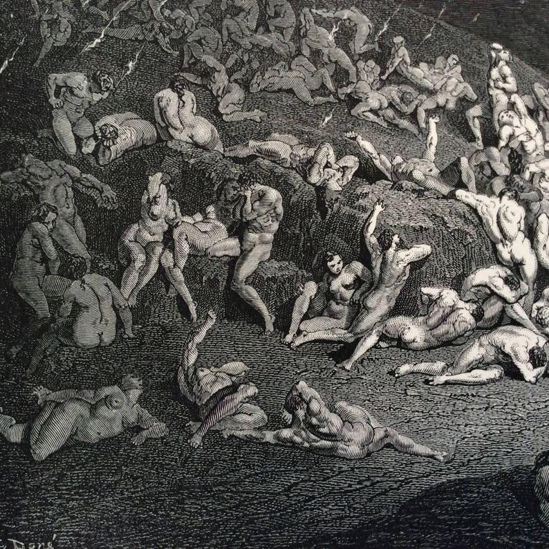 1870 DANTÉS INFERNO Antique HELL Engraving Gustave Doré