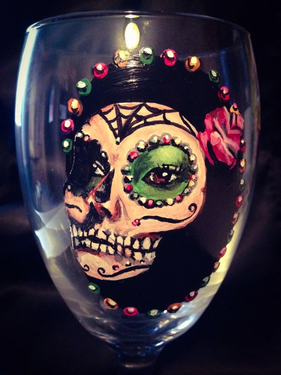 Day Of The Dead Hand Tattoo: Day Of The Dead Hand Painted Wine Glass