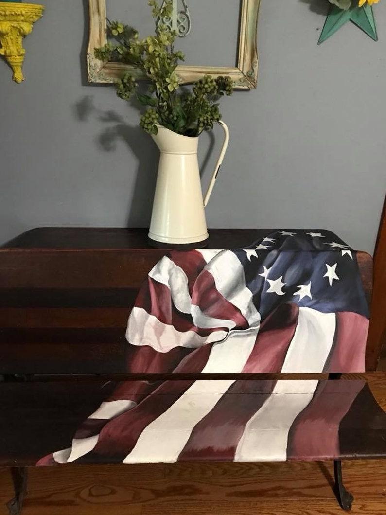 vintage flag on vintage double student desk