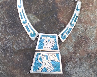 "Vintage Taxco 925 Silver/Turquoise Hinged Panel Necklace 56 Gr 15.5"" Tribal Man"