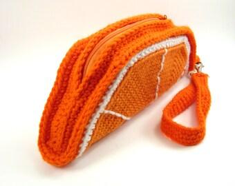 Orange Slice Clutch Purse. Foodie Wrist Bag. Removable Strap. Zipper Closure. Citrus Zest Fruit. Weird Unusual Handbag Amigurumi Kawaii Food