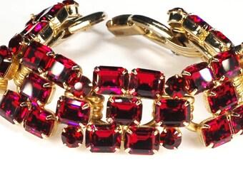 Juliana D&E Red Rhinestone Bracelet