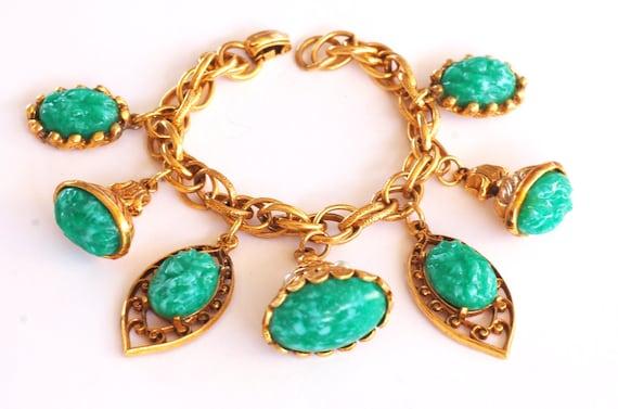 Ornate Jade Fob Chunky Charm Bracelet Vintage Jewe