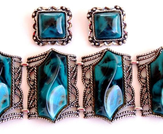Chunky Lucite Teal Bracelet Earring Set Vintage Je