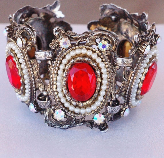 Selro Red Rhinestone Chunky Wide Victorian Revival