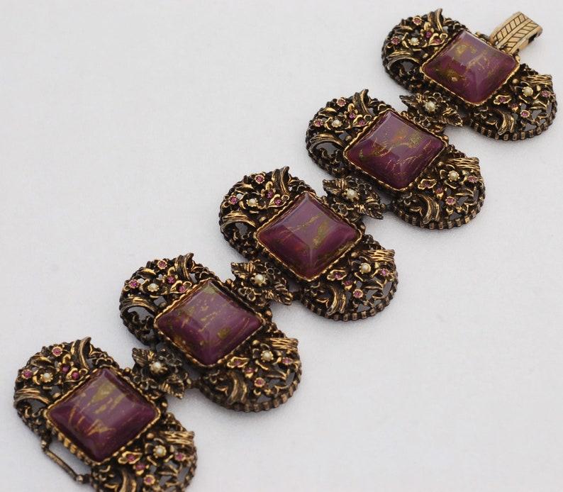 Selro Ornate Wide Brass Purple Fluss Lucite Rhinestone Victorian Bracelet