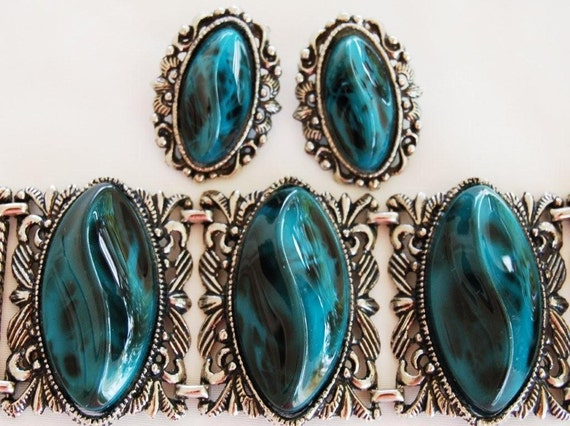 Chunky Turquoise Marbled Lucite Bracelet Earring S