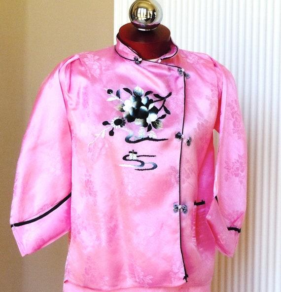 Japanese Pink Silk Embroidery Pajama Loungewear S… - image 1