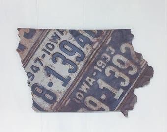 Iowa Home Wood Sign | Iowa State Outline Art | Iowa License Plates Vintage | Photography