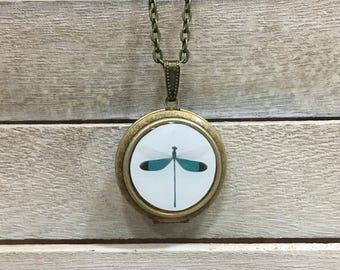 Dragonfly Photo Locket | Art Jewelry | Nature Photography | Brass Circle Locket | Necklace | Pendant