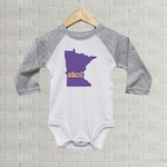 Minnesota Skol Baby One Piece | Purple Gold Yellow Vikings Gray | Minnesota State Outline Art | Baby Gift | Minnesota Baby Bodysuit