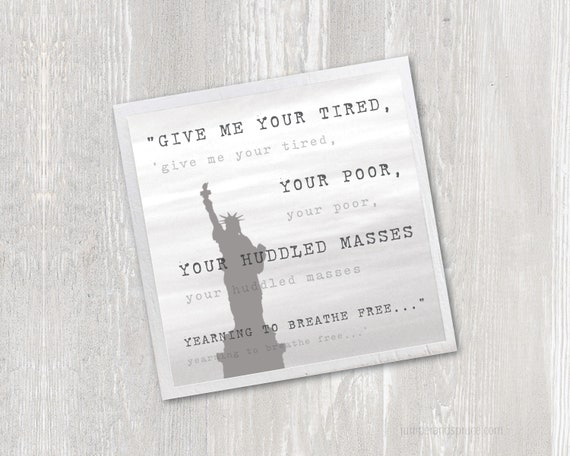 Statue Of Liberty Magnet Emma Lazarus Poem The New Colossus Give Me Your Tired Inspirational Quote Kitchen Fridge Magnet