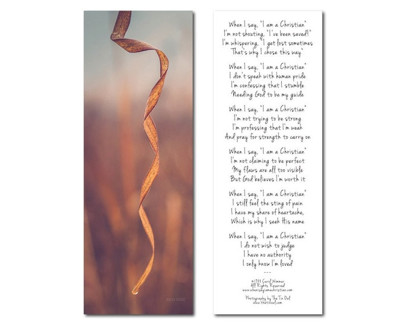 Photo Bookmark  When I Say I am a Christian Poem  Carol image 0