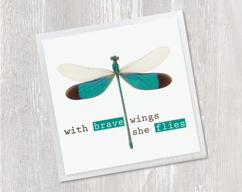 Inspirational Magnet | With Brave Wings She Flies | Dragonfly Inspirational Quote | Art Typography | Kitchen Fridge Magnet