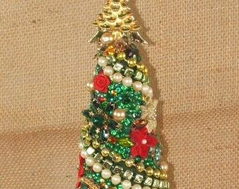 Emerald Vintage Christmas Jewelry Tree 12In.