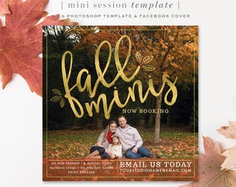 Fall Mini Session Template - Photography Templates - gold leaves - instagram - blog - marketing - Photoshop Template - Instant Download