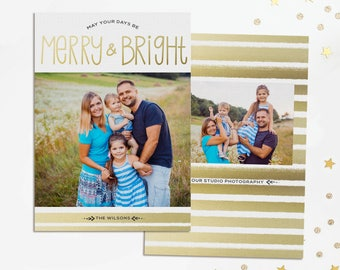 Gold Stripe Holiday Card - Christmas Card - Holiday Card Template - Photo Template - Gold Christmas - Merry & Bright - Photoshop Template
