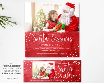 Santa Mini Session Template - Photoshop Template - Christmas Minis - Photography Template - Minis - Instagram Template - Facebook Timeline