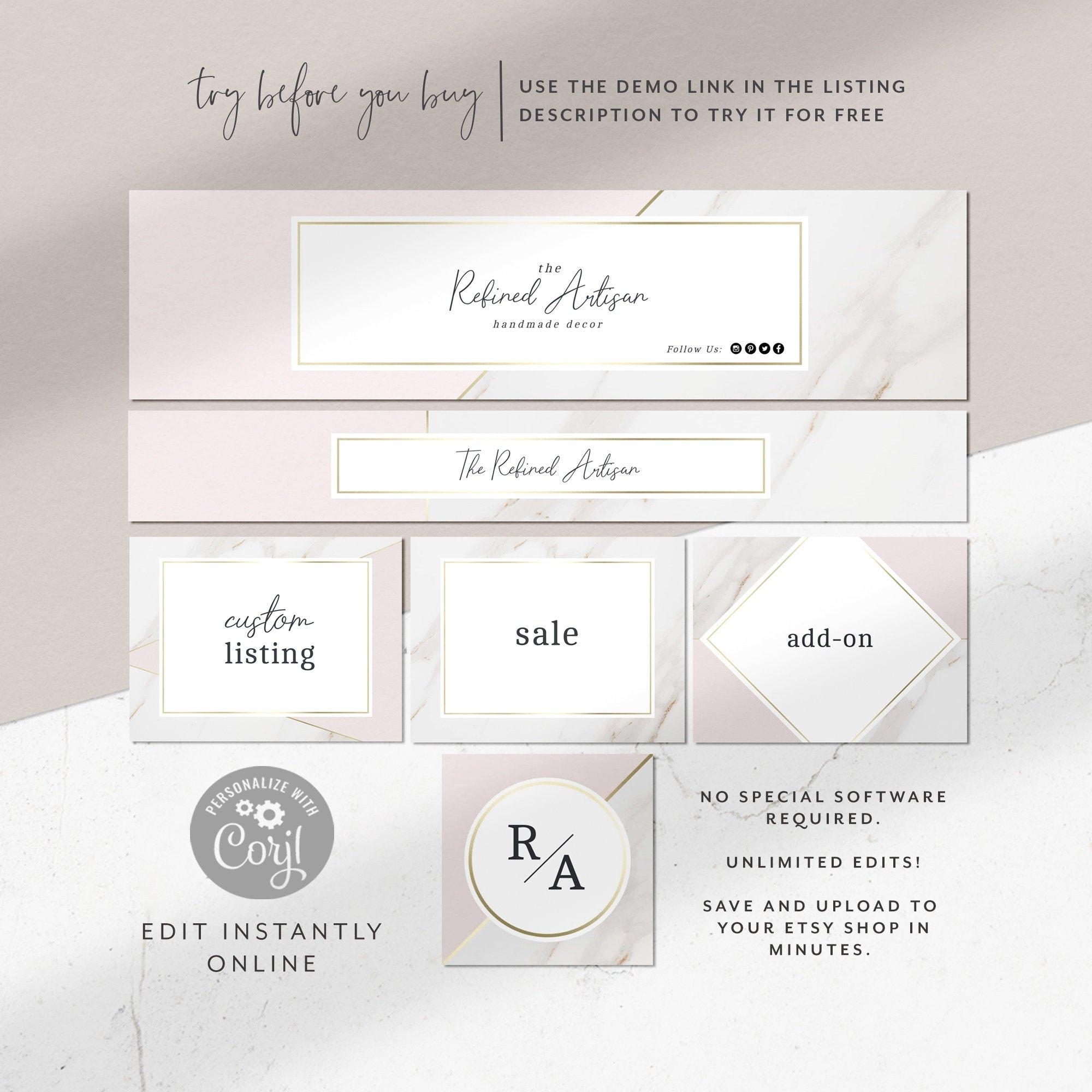 0347bbb2ba16e Modern Gold Marble Etsy Shop Graphics Kit | Etsy Banner | Etsy Cover | DIY  Instant Download | Corjl Template | Shop Banner | Store Branding