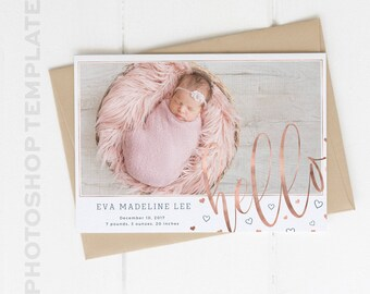Birth Announcement - Photoshop Template - Newborn - Photo Card - Rose Gold - Baby Announcement - Baby Girl - Baby Boy - Heart Announcement