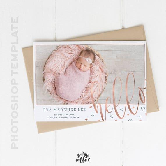 Neugeborenen Geburt Ankündigung Photoshop-Vorlage Foto