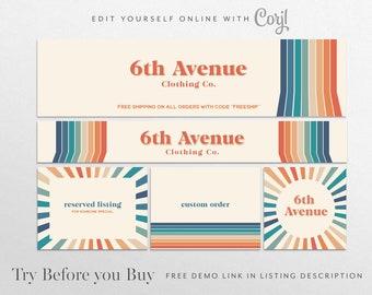 CORJL Editable Etsy Shop Graphic Kit Template   Retro vintage Etsy cover   Etsy Banner   Etsy Cover Shop Banner   Branding   Etsy Store