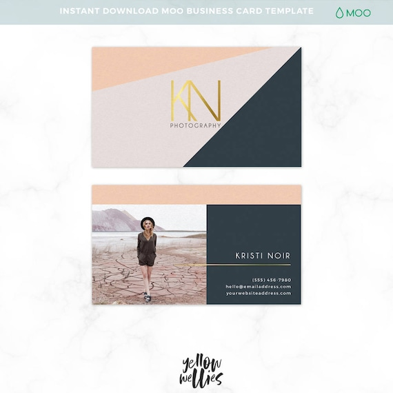 Modern business card template moo card template photoshop etsy image 0 wajeb Images