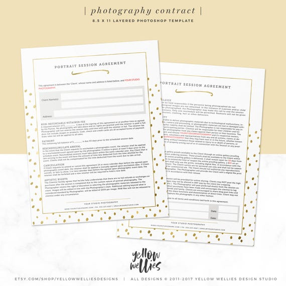 Portrait Contract Template Photography Form Photographer Business Form 8 5x11 Photoshop Template Photo Agreement Business Form