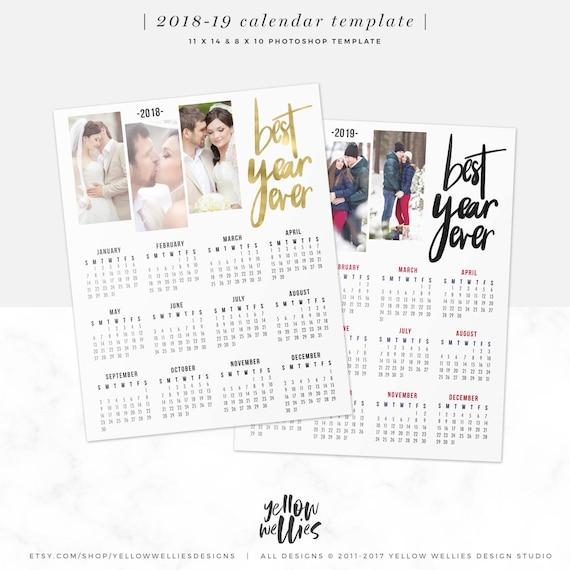 2018-2019 Kalender Vorlage Foto-Collage Photoshop-Vorlage | Etsy