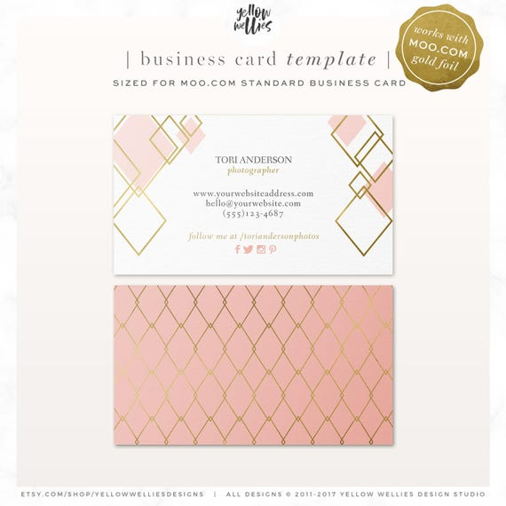 business card template blush and gold moo template gold etsy
