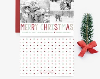 Holiday Card Template - Three Photo Christmas Card -  Digital Photographer Photoshop Template - INSTANT DOWNLOAD - Sku HC009