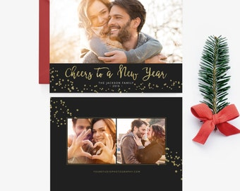 Holiday Card Template - Photo Christmas Card New Year- Digital Photographer Photoshop Template - INSTANT DOWNLOAD - Sku HC002