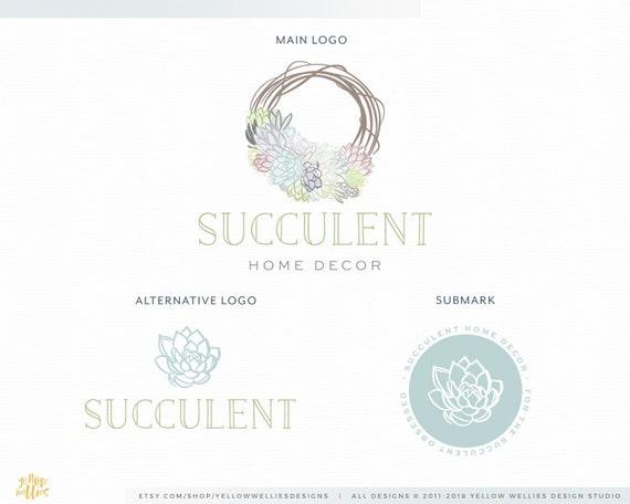 Succulent Logo Wreath Home Decor Plant Nursery