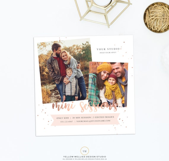 Mini Session Photoshop Template - Photography Marketing - Rose Gold Mini  Session - Photoshop Template - Digital FIle - Instant Download