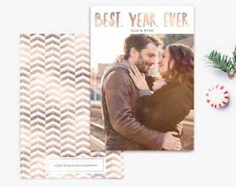 Holiday Card Template - Photoshop Elements Template - Photographer Template - Christmas New Year Card - Copper - Photo Card - SKU HC040
