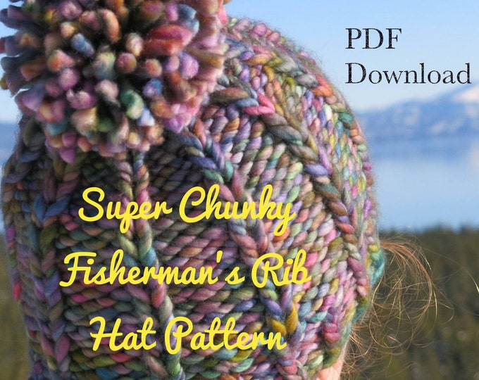 Hat Knitting Pattern - Super Chunky Fisherman's Rib Hat - Malabrigo Rasta Hat Pattern - Pom Pom hat pattern