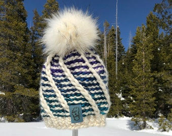 Super Bulky Tri-Color Swirl Hat, Hand Knit, Super Soft Merino Wool, Malabrigo Rasta Yarn,  Loveafur Faux Fur Pom pom
