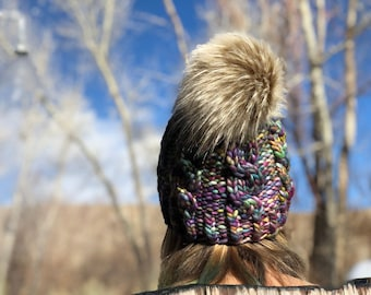 Super Bulky Cable Hat, Hand Knit, Merino Wool