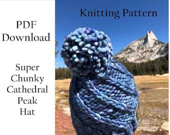 Hat Knitting Pattern - Super Chunky Hat - Super Bulky Hat - Malabrigo Rasta Hat Pattern -Easy Knitting Pattern - PDF download