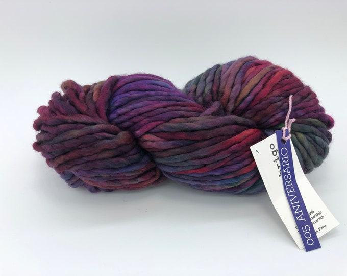 Malabrigo Rasta Yarn + Knitting Pattern, Super Bulky, 100% Merino Wool, 005 Aniversario