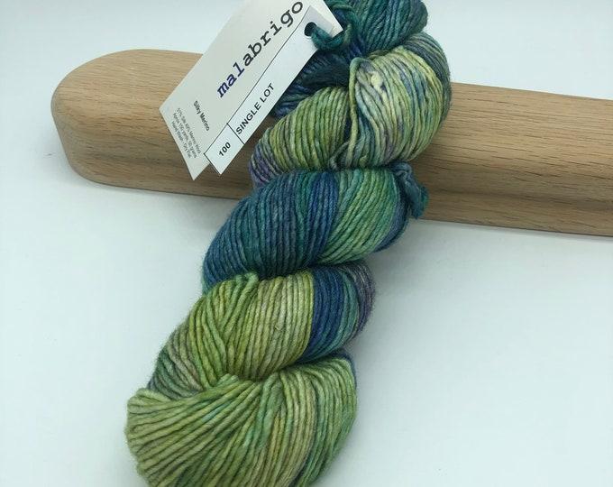 Malabrigo Silky Merino, Dk weight yarn, single lot, green and blue