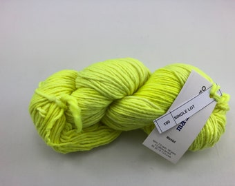 Malabrigo Worsted Yarn plus bonus knitting pattern, 100% Merino Wool, neon yellow, no dye lot