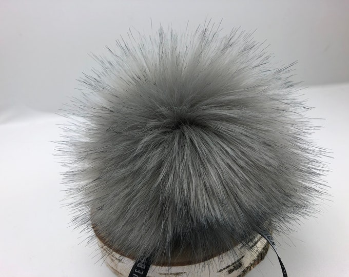 "Faux fur Pom Pom from Aheadhunter, Premium ""fox"" Pom Pom, steel grey, hat topper,  knit crochet supplies"