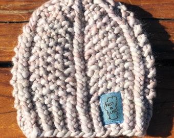 Super Bulky Cable Hat, Hand Knit, Merino Wool, Malabrigo Rasta Yarn