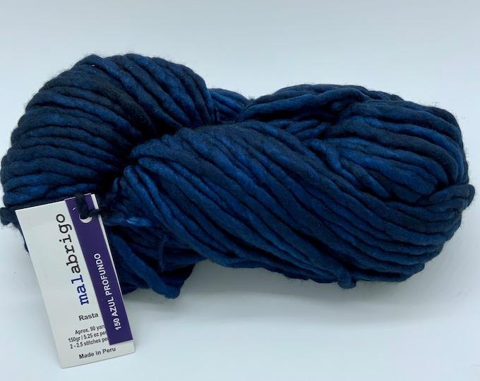 Malabrigo Rasta Yarn + Hat Knitting Pattern, Super Bulky, 100% Merino Wool, Azul Profundo, 150