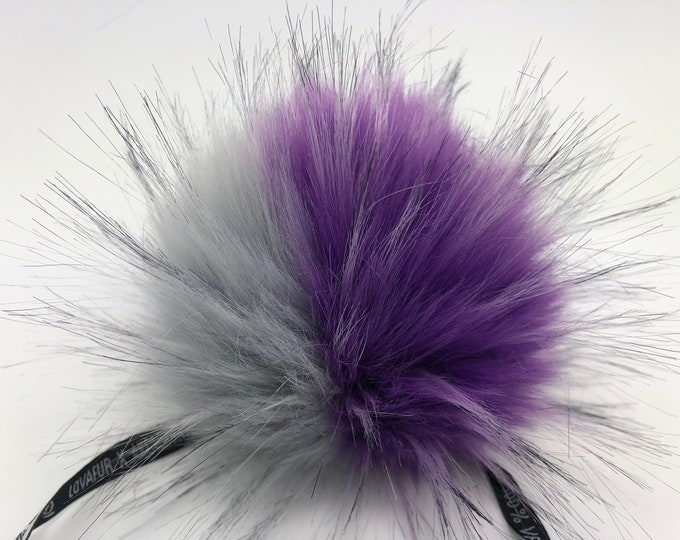 "Aheadhunter faux fur Pom Pom, Premium ""raccoon"" Pom Pom, Lovafur, Purple and gray pom pom"