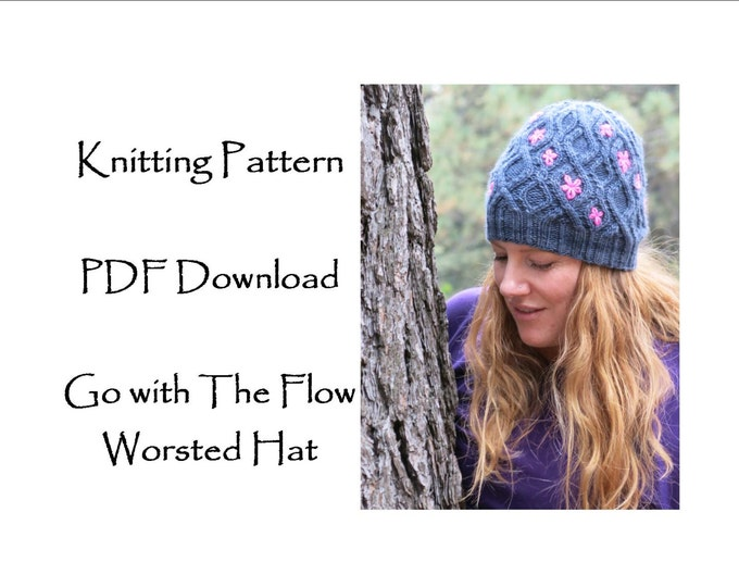 Hat Knitting Pattern - Cable hat with flowers - Worsted yarn knitting pattern - Flower Hat Pattern - go with the flow worsted hat
