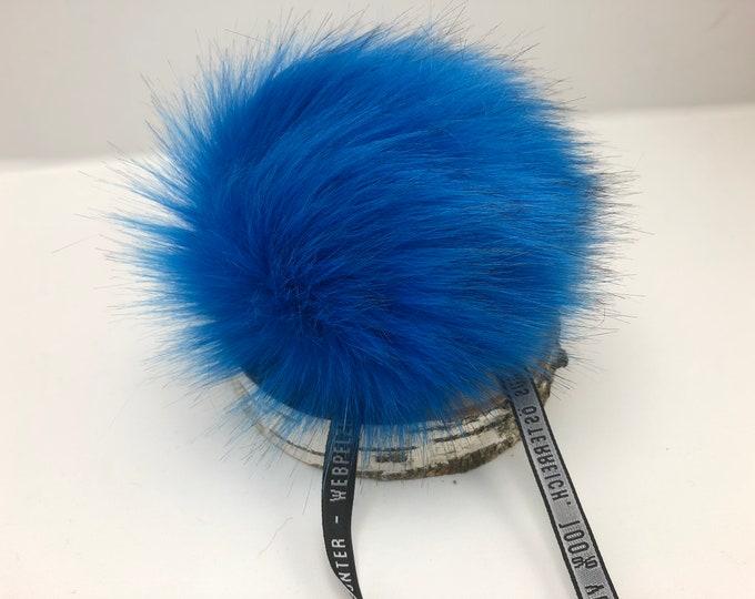 "Aheadhunter faux fur Pom Pom - Premium ""fox"" Pom Pom -Ocean blue color - hat topper - knit crochet supplies"