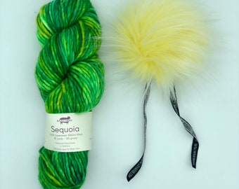 Yarn and pom pom kit, choice of hat knittining pattern, Baah Yarn Sequoia and Aheadhunter pom pom, green and yellow