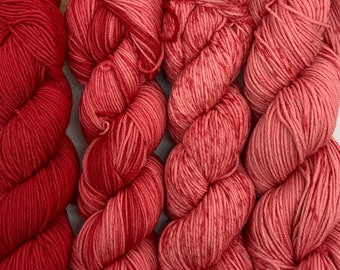 Urth yarns Merino Gradient Kit 801, Fingering weight yarn and Garden Trellis Shawl patter, red ombre kit